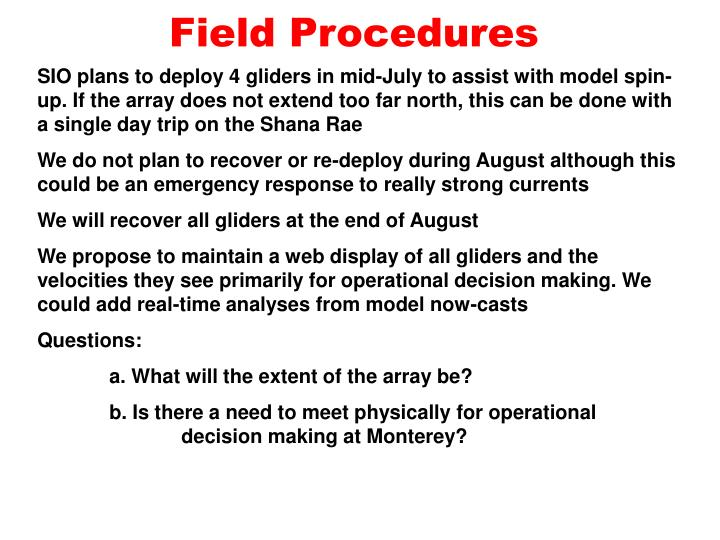 Field procedures