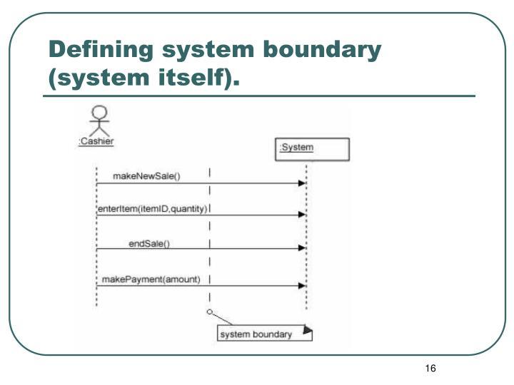 Defining system boundary (system itself).