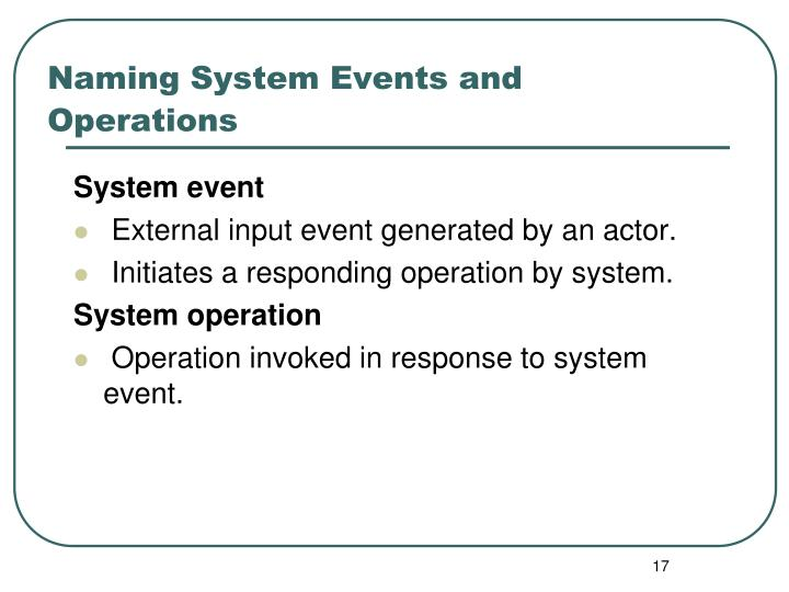 Naming System Events and Operations