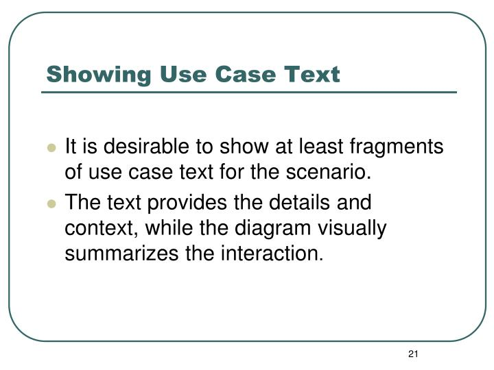 Showing Use Case Text
