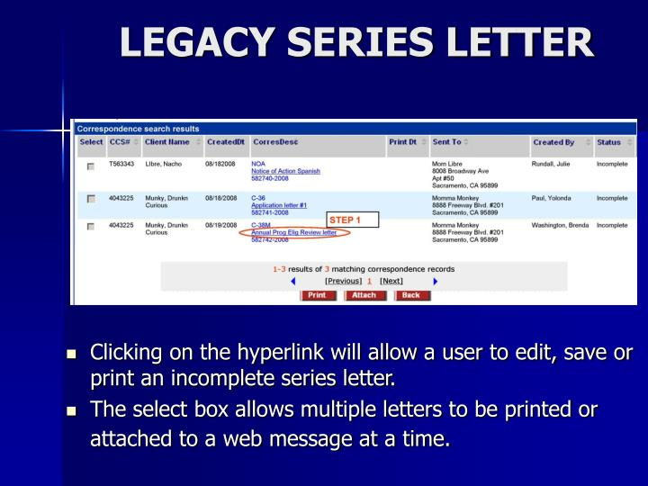 LEGACY SERIES LETTER