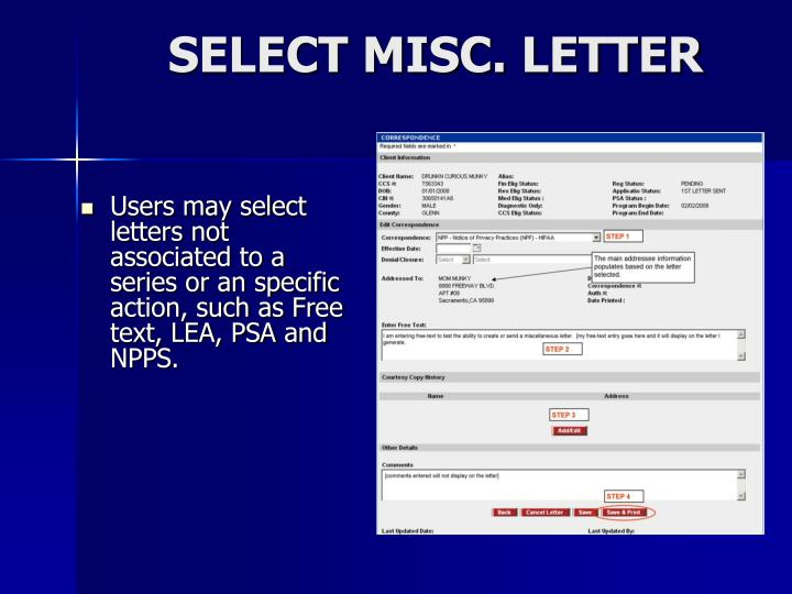 SELECT MISC. LETTER