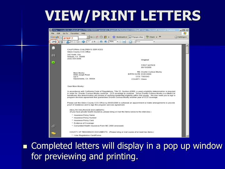 VIEW/PRINT LETTERS
