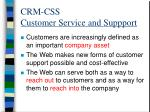 crm css customer service and suppport