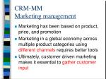 crm mm marketing management