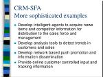 crm sfa more sophisticated examples