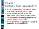 crm sfa support of sales representatives
