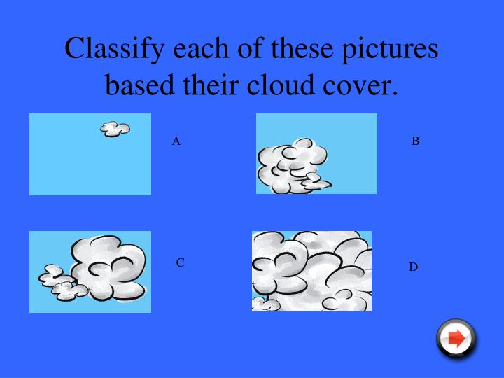 Classify each of these pictures based their cloud cover.