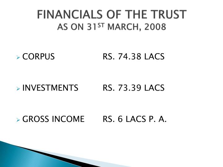 FINANCIALS OF THE TRUST