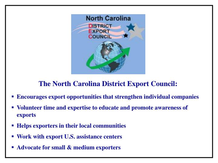 The North Carolina District Export Council: