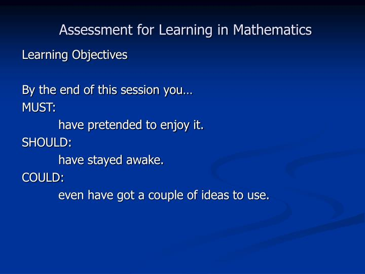 Assessment for Learning in Mathematics