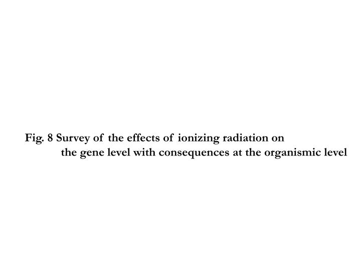 Fig. 8 Survey of the effects of ionizing radiation on