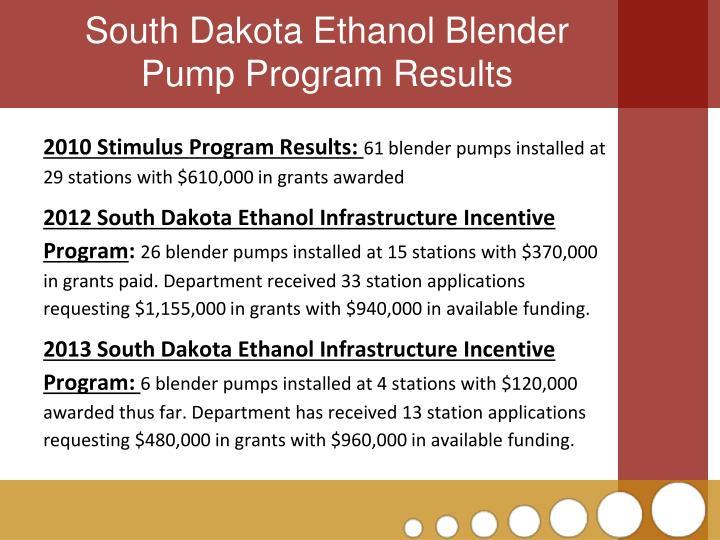 South Dakota Ethanol Blender Pump Program Results