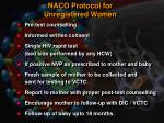 naco protocol for unregistered women
