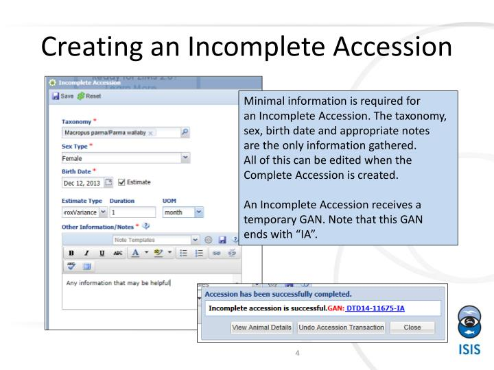 Creating an Incomplete Accession