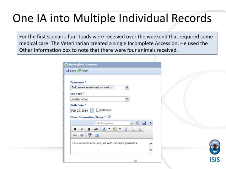 One IA into Multiple Individual Records