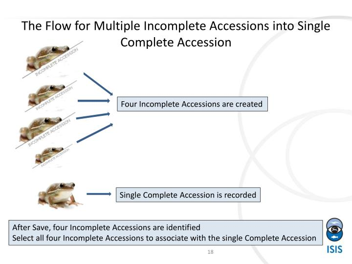 The Flow for Multiple Incomplete Accessions into Single Complete Accession
