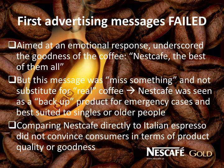 First advertising messages FAILED