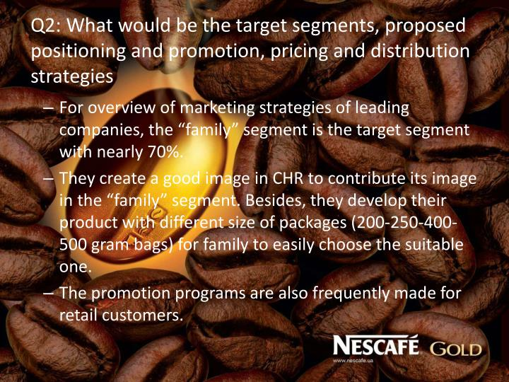Q2: What would be the target segments, proposed positioning and promotion, pricing and distribution strategies