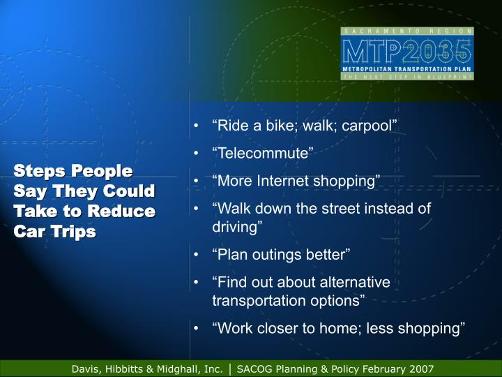Steps People Say They Could Take to Reduce Car Trips