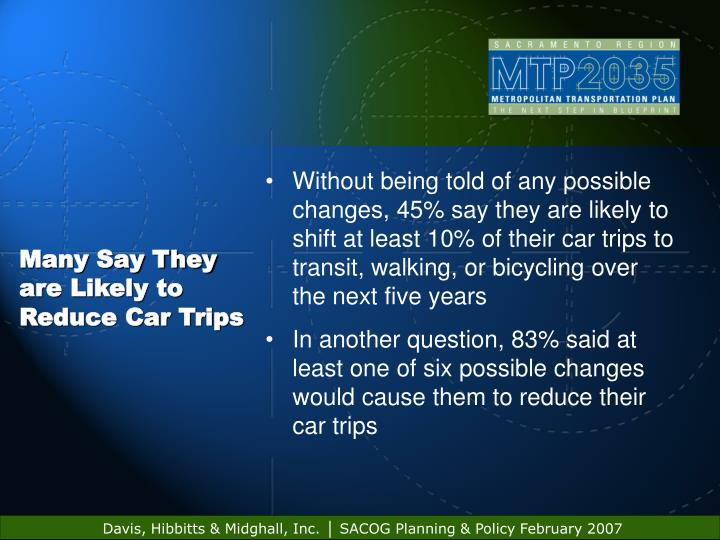 Many Say They are Likely to Reduce Car Trips