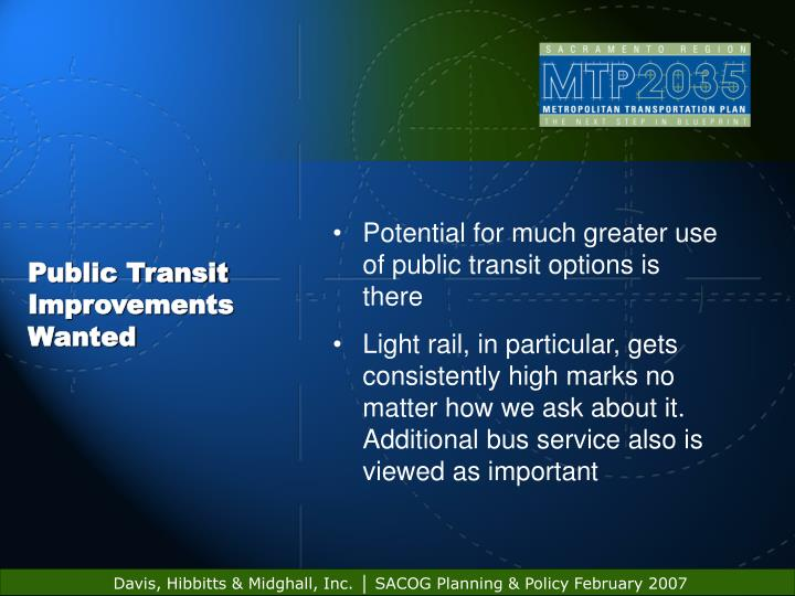 Public Transit Improvements Wanted