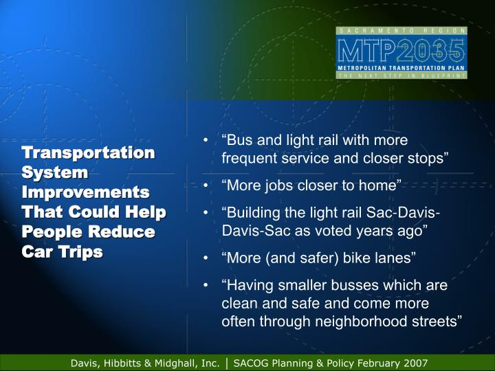 Transportation System Improvements That Could Help People Reduce Car Trips
