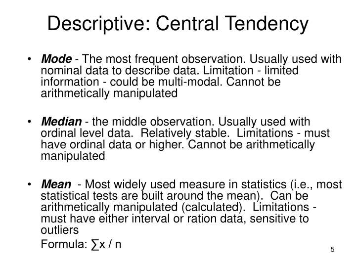 Descriptive: Central Tendency