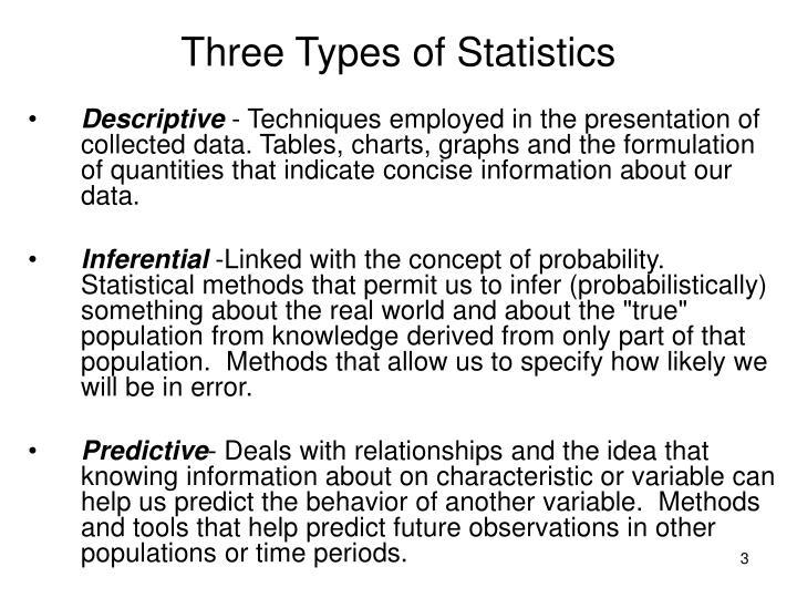 Three Types of Statistics