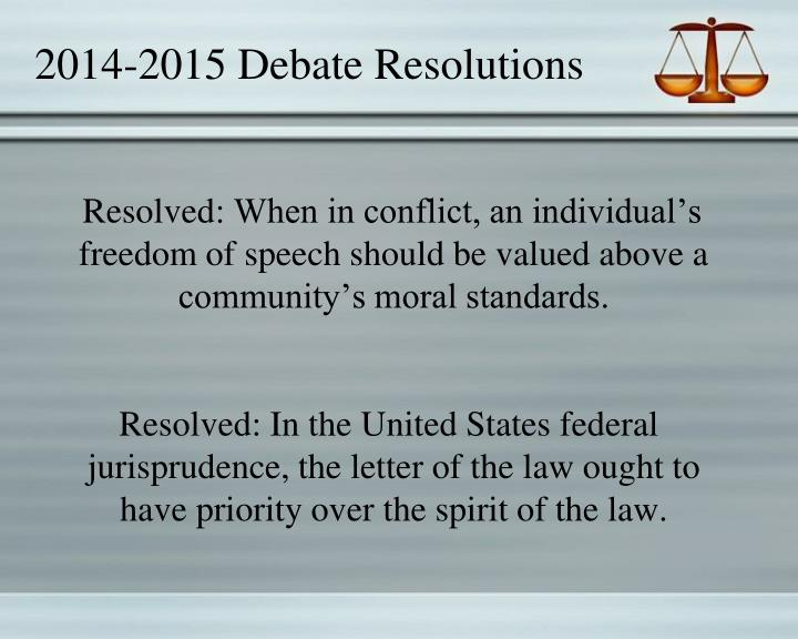 2014-2015 Debate Resolutions