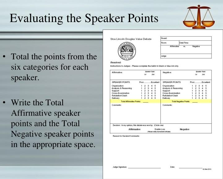 Evaluating the Speaker Points