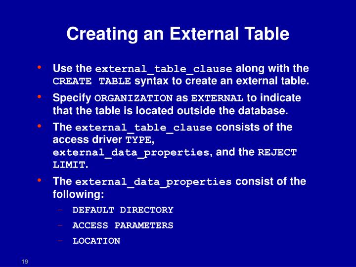 Creating an External Table