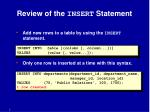 review of the insert statement