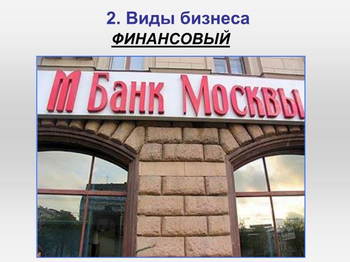 2. Виды бизнеса