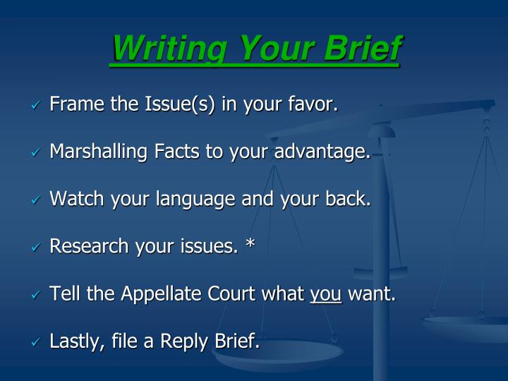 Writing Your Brief