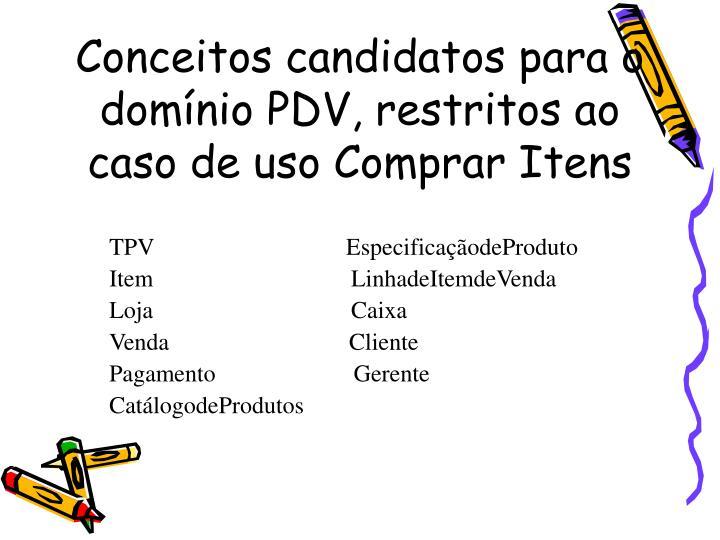 Conceitos candidatos para o domínio PDV, restritos ao caso de uso Comprar Itens