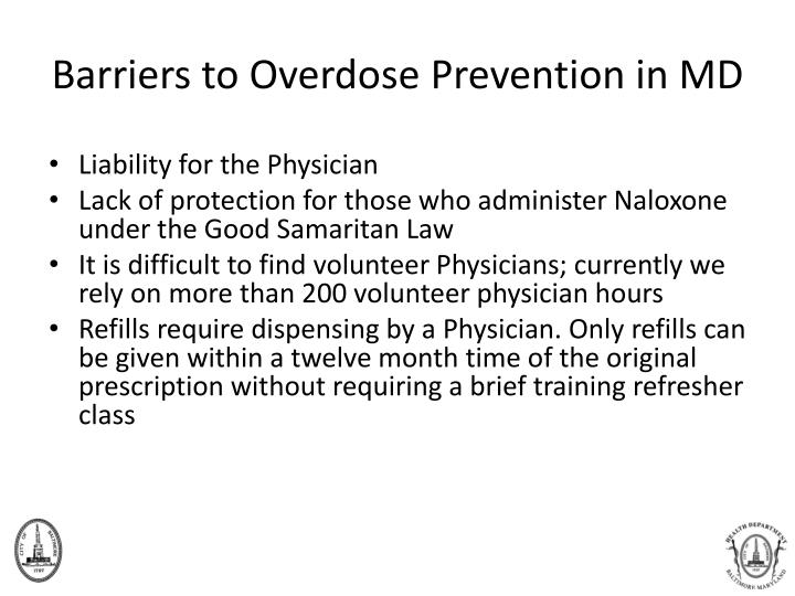 Barriers to Overdose Prevention in MD
