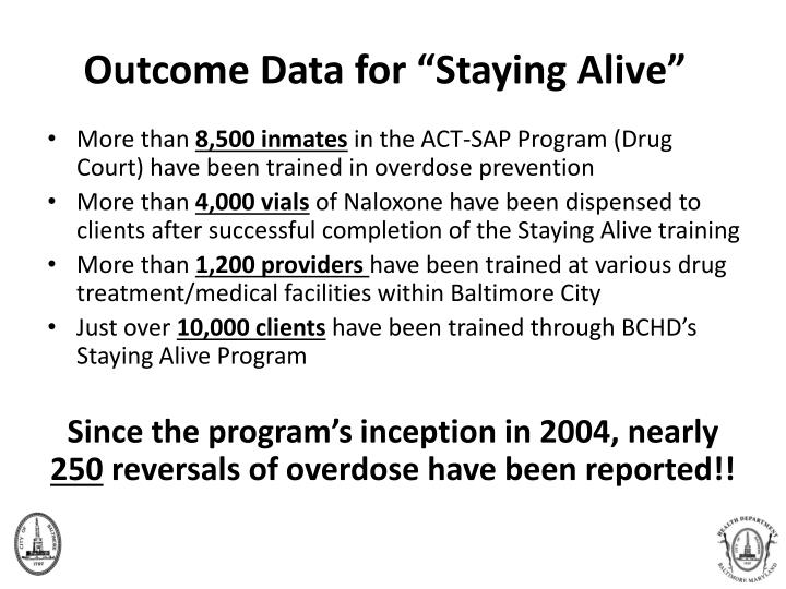 """Outcome Data for """"Staying Alive"""""""
