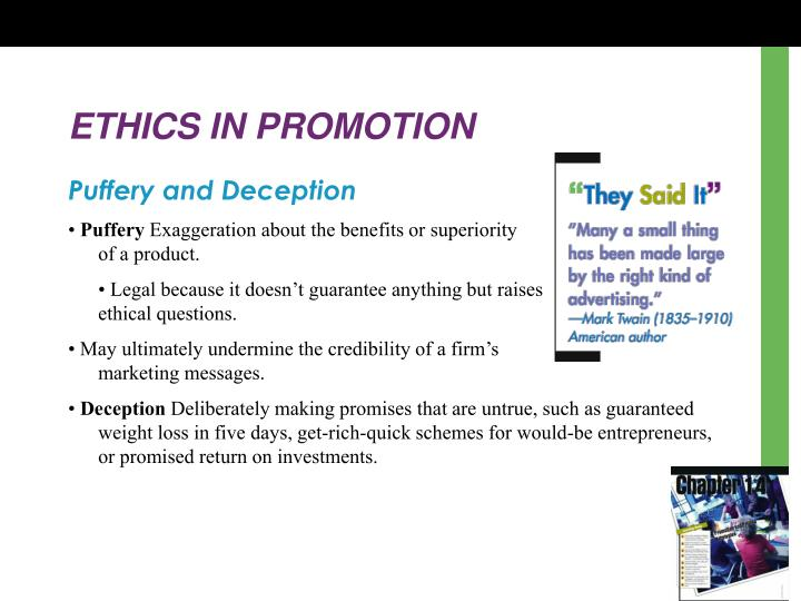 ETHICS IN PROMOTION