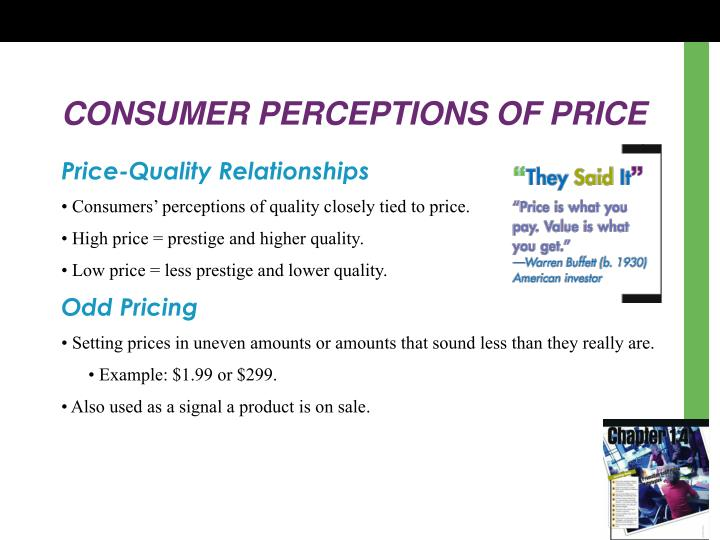 CONSUMER PERCEPTIONS OF PRICE