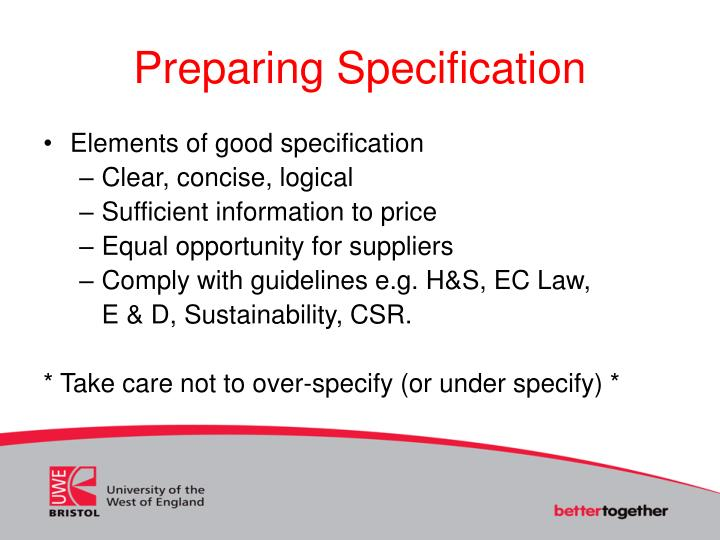 Preparing Specification
