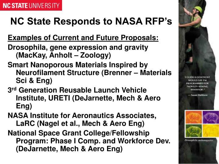 NC State Responds to NASA RFP's