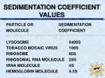 sedimentation coefficient values