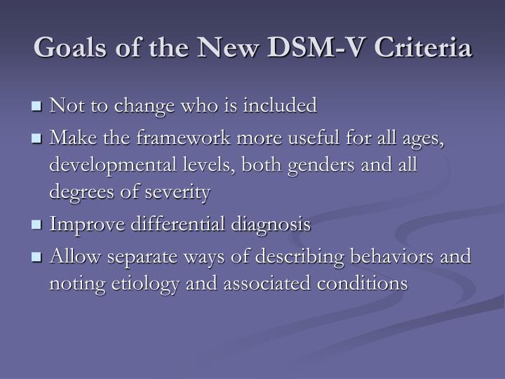 Goals of the New DSM-V Criteria