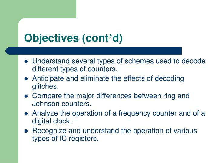 Objectives (cont
