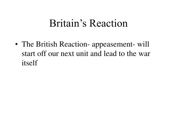 Britain's Reaction