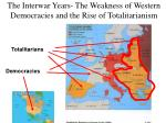 the interwar years the weakness of western democracies and the rise of totalitarianism