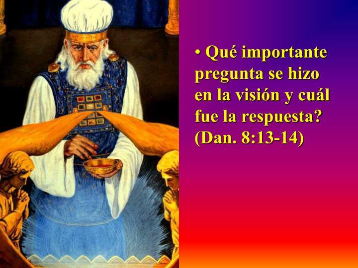 Qué importante    pregunta se hizo en la visión y cuál fue la respuesta?