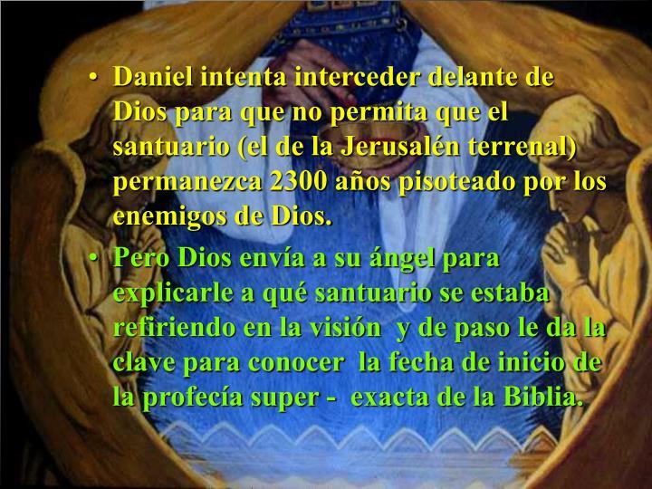 Daniel intenta interceder delante de Dios para que no permita que el santuario (el de la Jerusalén terrenal) permanezca 2300 años pisoteado por los enemigos de Dios.
