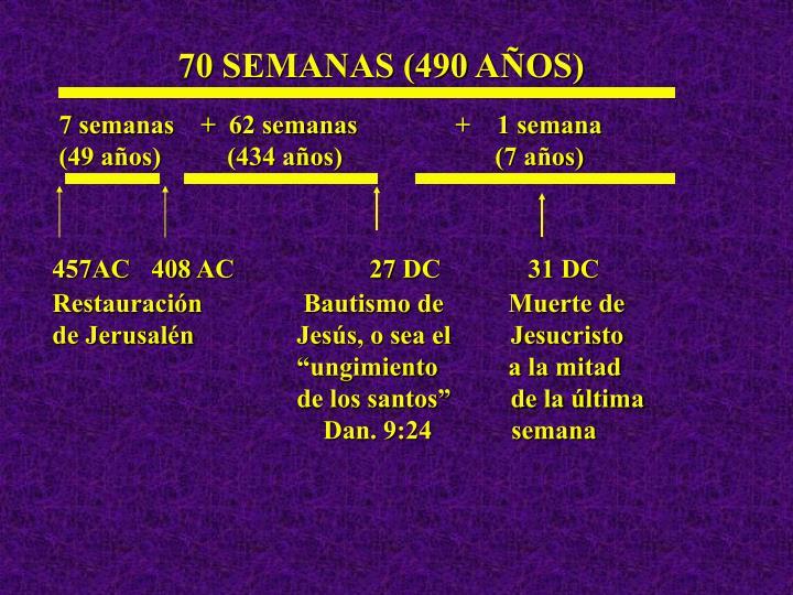 70 SEMANAS (490 AÑOS)